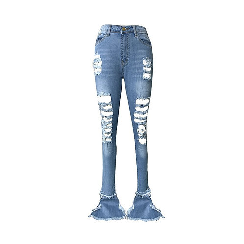 Women Wide Leg Jeans Mom Flare Pants Cargo Plus Size Stacked Jeans