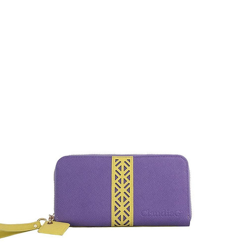 Layla Leather Wallet- Plum/Canary Yellow