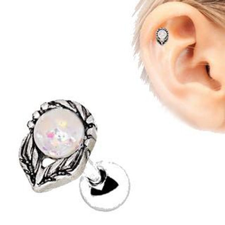 316L Stainless Steel Synthetic Opal Flower on a Stem Cartilage Earring
