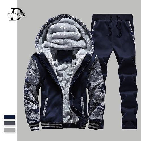Men Tracksuit Thick Sweatshirt+Pants Two Piece Set