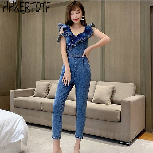 Sexy Backless Denim Jeans Jumpsuit