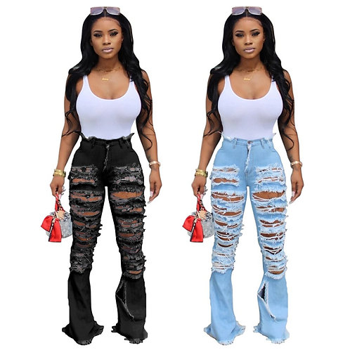 Fashion Hole Ripped Women Jeans High Waist Flare Pants Woman Clothing Plus Size