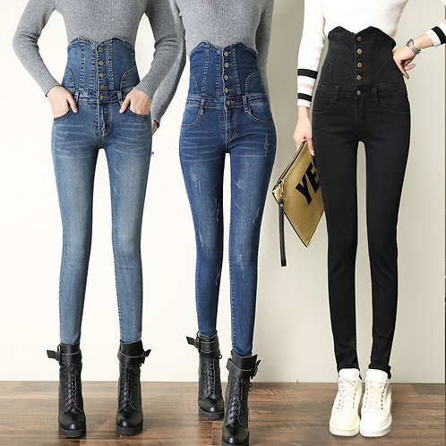 Spring Ripped Jeans for Women High Waist Denim Jean Button Fly Slim