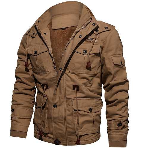 Male Plus Velvet Warm Hooded Tooling Wind Wash Tactical Jacket Plus Size M~6XL