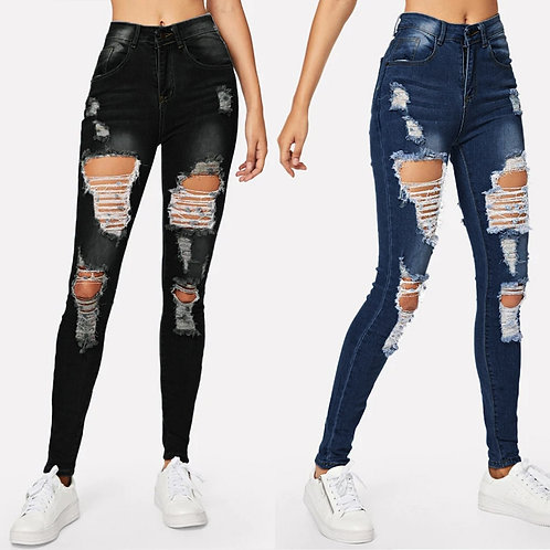 Jeans Fashion Women'S Ripped Jeans Ladies Jeans Skinny Ladies Plus Size