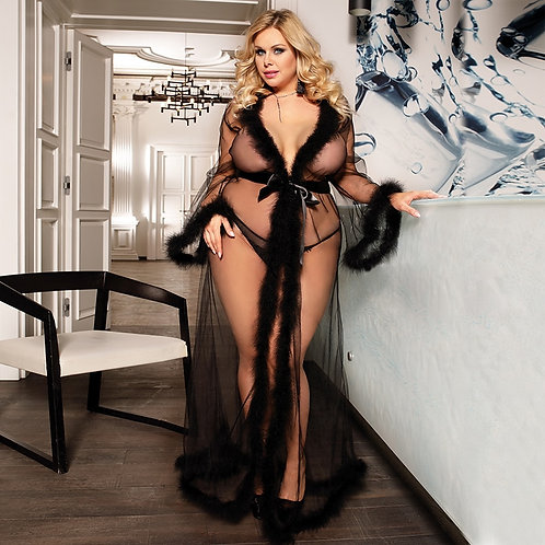 Sexy Nightgown Transparent Lingerie Long Sleeve Sheer Sleep Robe Plus Size