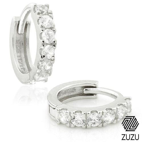 Silver CZ Pavé Cartilage Hoop Earrings