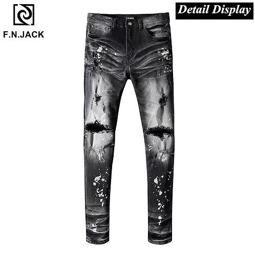 F.N.JACK Black Jeans Mens Jean Hip Hop Slim Fit Jeans for Men Casual Streetwear