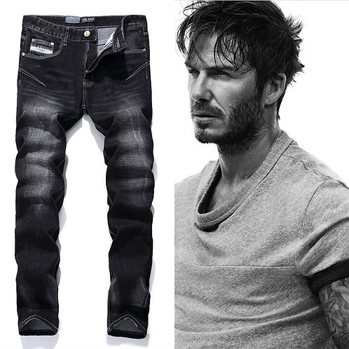 Black Printed Jeans Men Fashion Designer Logo Brand Jeans Trousers High Quality