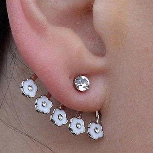 Crystal Flower Ear Cuff Stud Earring White Daisy Pierced Earring