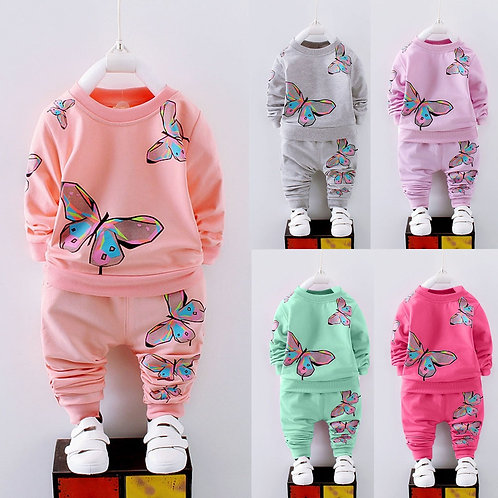 Toddler Kid Baby Girl Clothes Long Sleeve Printed T-Shirt+Pants