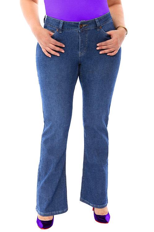 360 Stretch Mid-Rise Straight Denim Jeans in Medium Blue