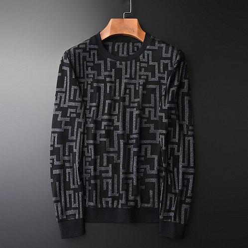 Minglu Round Collar Sweatshirt Men Geometric Sweatshirt Male Hoodies Plus Size