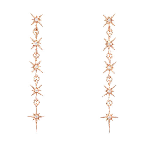 Star Burst 5 Drops Earrings Rosegold