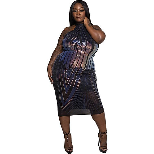 Adogirl Colorful Sequins Halter Plus Size Dress
