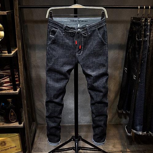 Jeans Men Skinny  Washed Casual Solid Black Spring Summer Denim Jeans