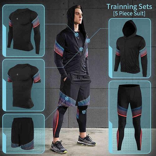 5pcs Set Tracksuits Gym Jogging Men Sportswear