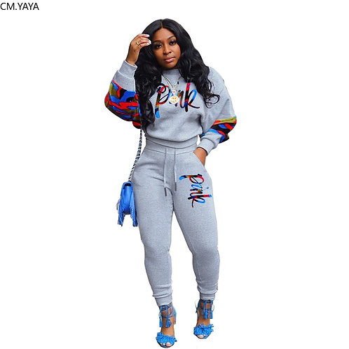 2020 Women Summer Tracksuits Print Top+Pants Suit Two Piece Set Sporty Casual