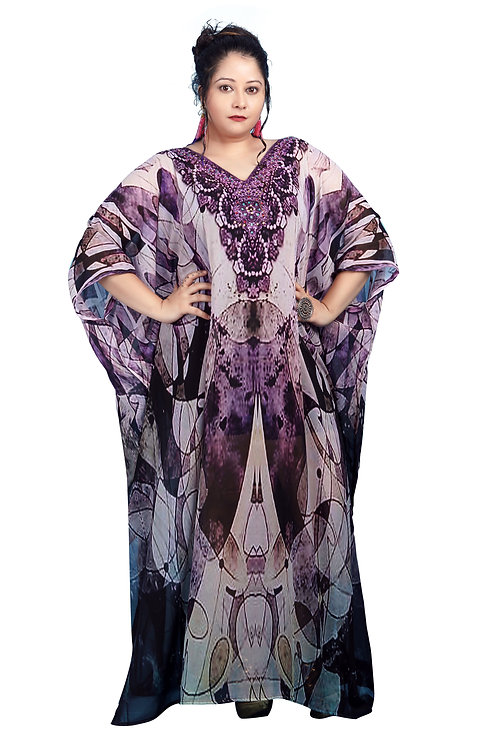 Plus Size Abstract Silk Kaftan Dress Prettifies You Graceful and Bold Look