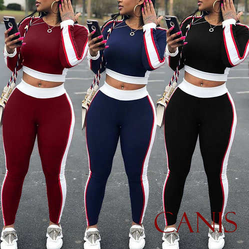 Sexy Women Sports Yoga Set Long Sleeve Crop Top Long Pants Outfit