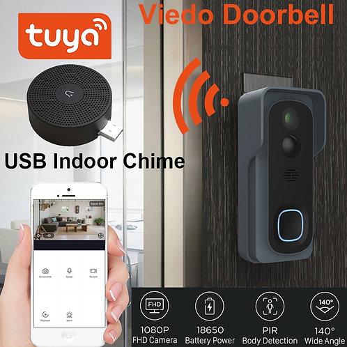 Tuya Wireless WiFi 1080P Video Doorbell With Battery  Cloud Storage Support WiFi