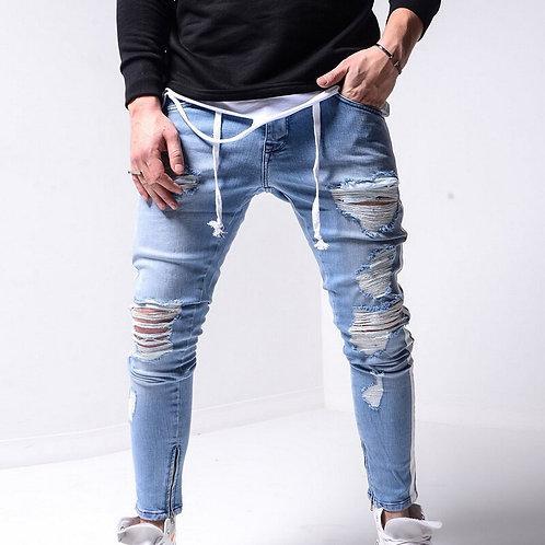 Men Stretchy Ripped Jeans Skinny Biker Zipper Slim Fit Jeans Denim