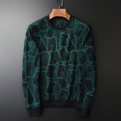 Minglu Green Round Collar Sweatshirt Male Luxury Geometric Men 4xl Slim Fit