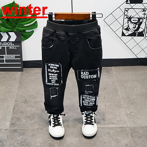 Kids Winter Sports Pants Baby Boy Trousers Thick Velvet Long Pants For Kids