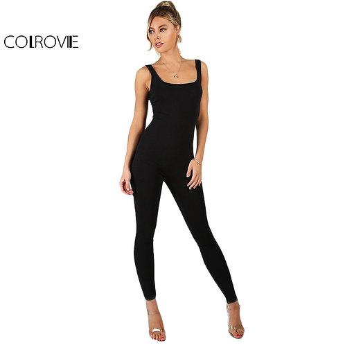 COLROVIE Black Bodycon Jumpsuit Women Sleeveless