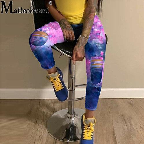Tie Dye Ripped Hole Women Jeans Denim Jean Pants High Waist Hip Hop Jeans