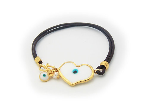 Crystal Evil Eye Leather Bracelet