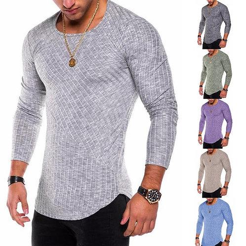 Spring Men T-Shirts Plus Size Long Sleeve Striped T Shirt