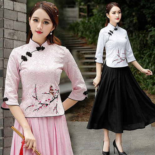 Women Chinese Cheongsam Top Blouse Cotton Embroidered Plus Size