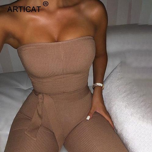 Articat Cotton Knitted Sexy Jumpsuit Women Off Shoulder Bodycon