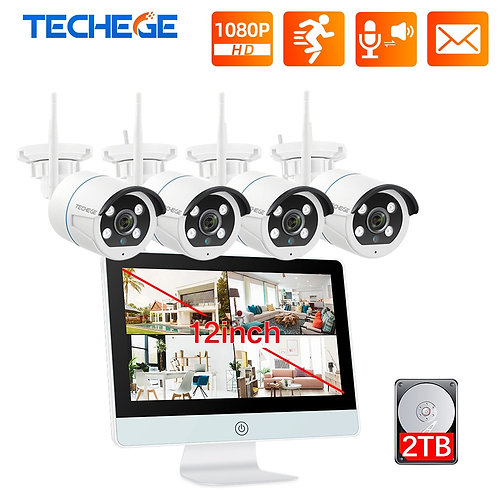 "8CH Security Camera System Wireless 1080P IP Camera WIFI Kit 12"" LCD Monitor"