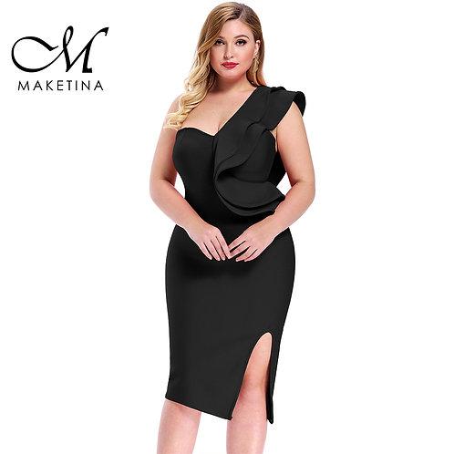 Maketina 2020 Women One Shoulder Plus Size Elegant V Neck Dress Party Plus Size