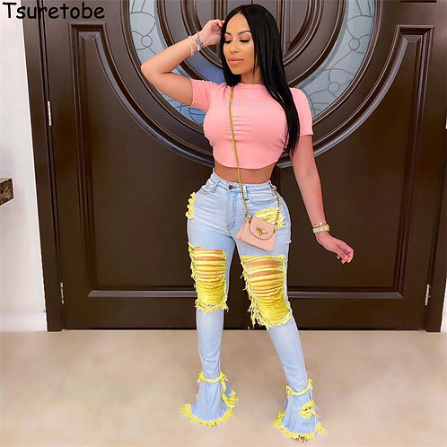 Tsuretobe Ripped Jeans for Women Plus Size High Waist Jeans Patchwork Jeans