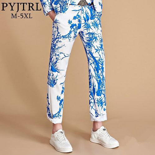 PYJTRL Tide Men Colorful Floral Print Slim Fit Suit Trousers Plus Size