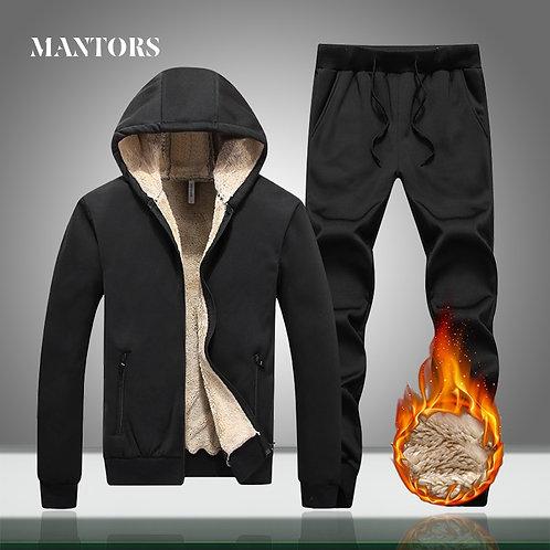 Winter Thick Men Casual Tracksuit Sportswear Zipper Mens Hooded Set