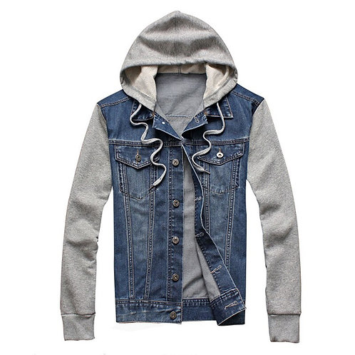 Denim Men Hooded Sportswear Outdoors Casual Jacket and Coat Plus Size
