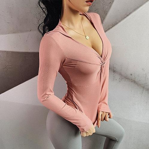 Women Long Sleeve Yoga Shirt and Yoga Leggings Seamless Set