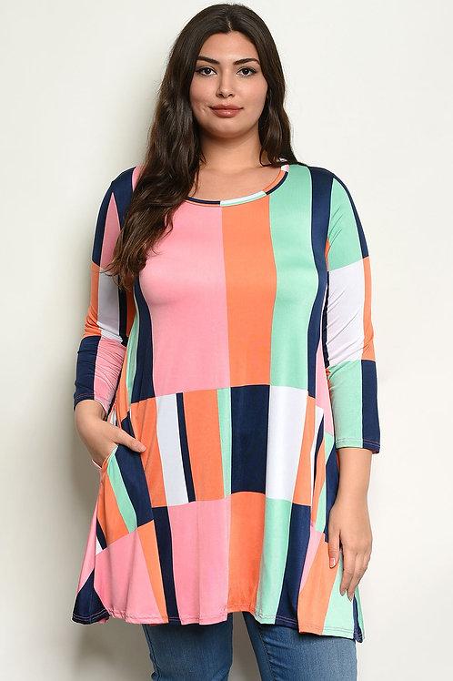 Multi Color Plus Size Top