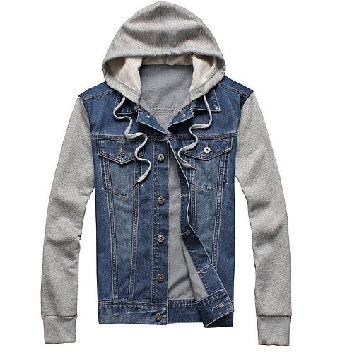 New Denim Jacket Men Hooded Sportswear Fashion Jean Jacket Plus Size 5XL