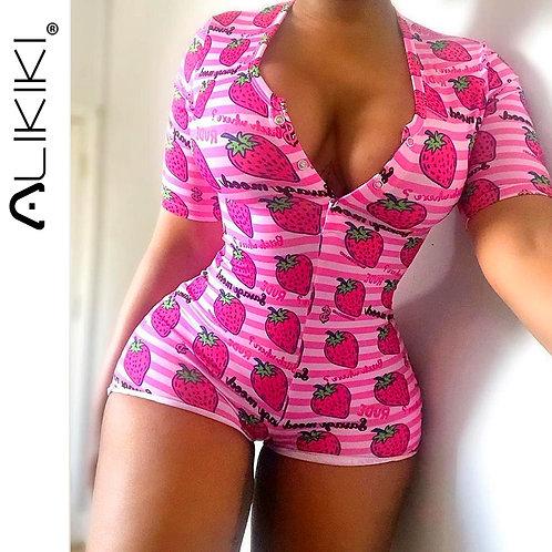 Short Sleeve Stretchy Sexy Onesie Pajamas