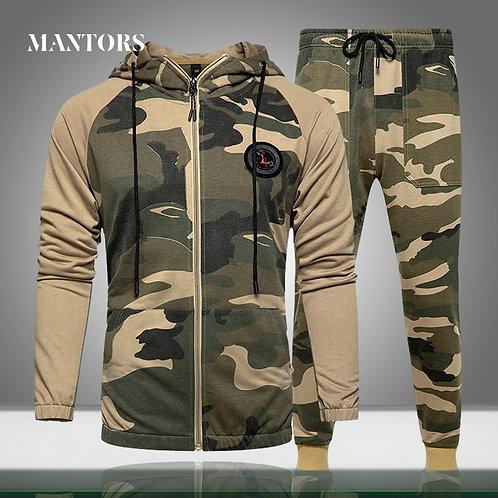 Men Sets Camouflage Casual Tracksuit Camo Jacket+Pants Set