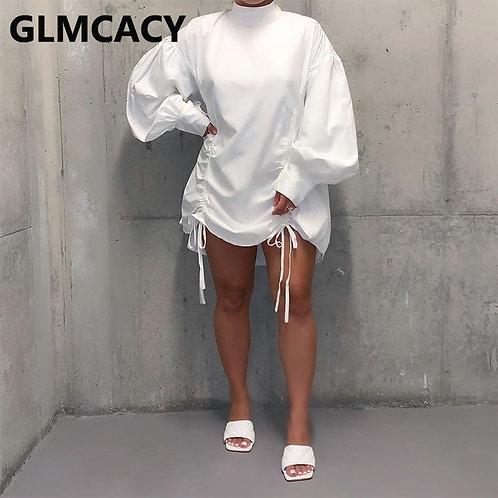 Women O-Neck Puff Sleeve Drapped Mini Dress Loose Style Plus Size Dress