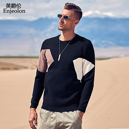 Enjeolon New Sweaters Men Patchwork Knitted Pullover Men Casual Sweater M-3XL