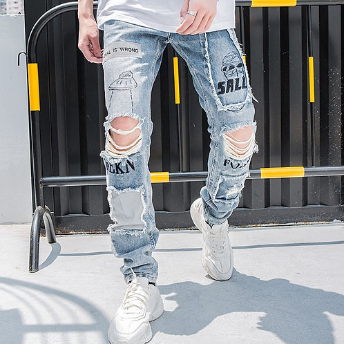 Aolamegs Biker Jeans Men Reflective Hole Denim Pants Mens Vintage Skinny Jeans
