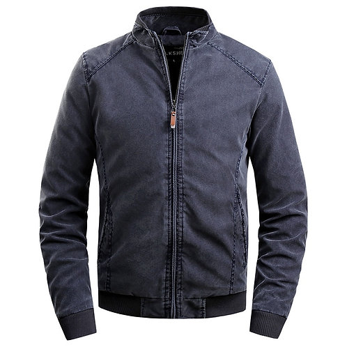 Mens Stand Collar Simple Casual Jacket