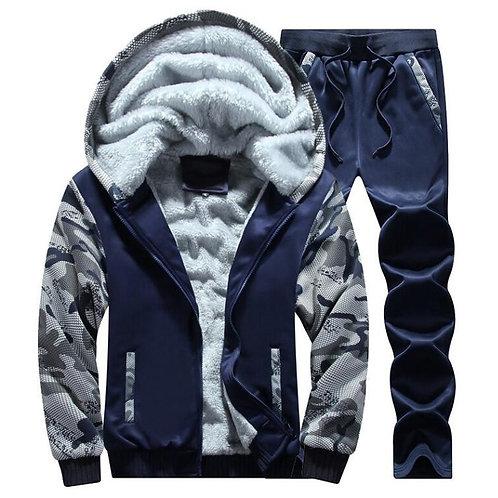 Men's Tracksuit Fashion Winter Mens Warm Hoodie+Pants Set Clothing Plus Size 4XL
